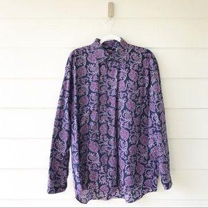 Alan Flusser Purple Paisley Button Up Shirt XL
